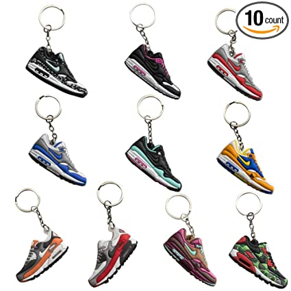 NIS Industries Rubber Silicone Retro Sneaker Keychains - Airmax 10 Pack  Gift Set (Airmax 5eda24231