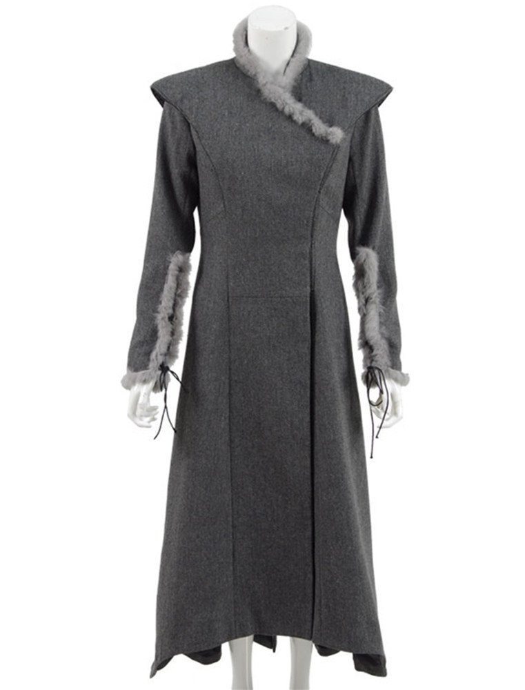 VOSTE Daenerys Targaryen Cosplay Costumes Mother Of Dragons Queen Fleece Dress Winter Outwear Coat (Small, Black)