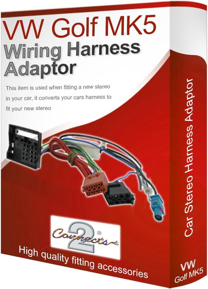 Vw Golf Mk5 Cd Radio Stereo Wiring Harness Adapter Lead Amazon Co Uk Electronics
