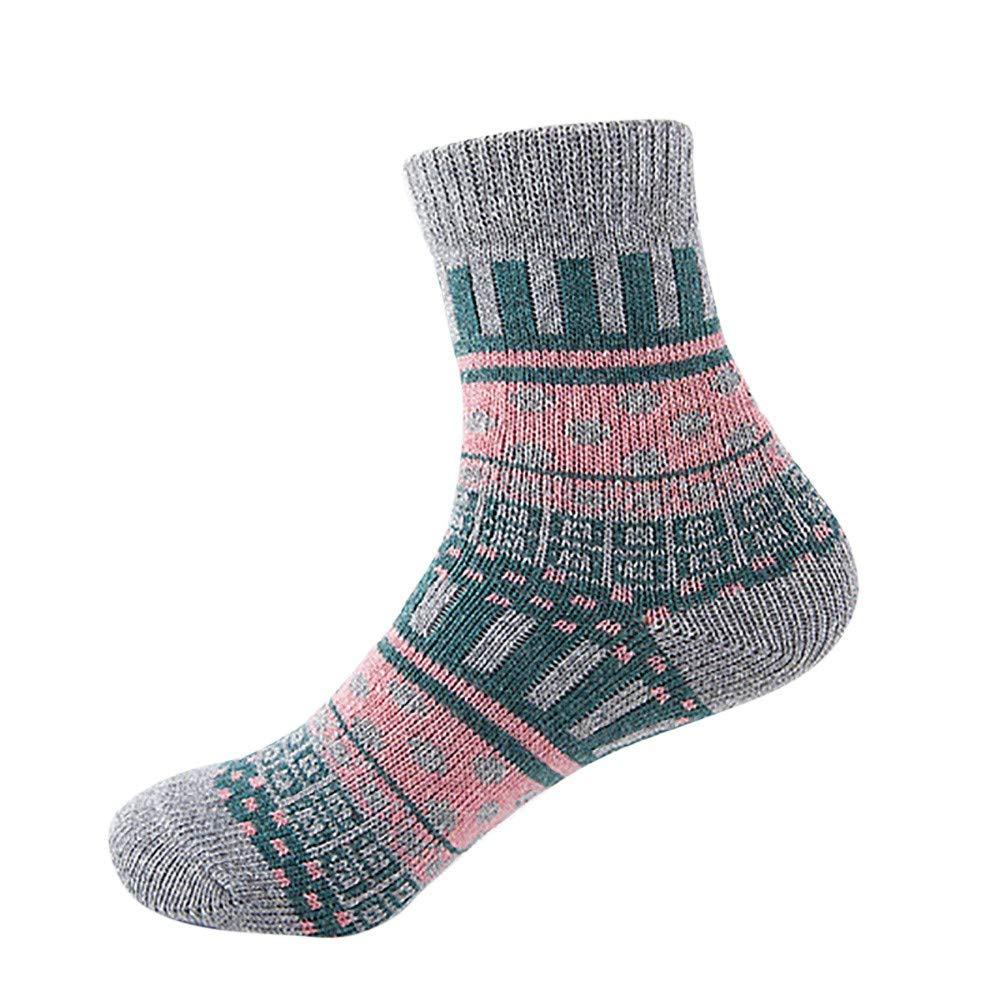 Womens Vintage Winter Soft Warm Thick Cold Knit Wool Crew Socks Dot Print Duseedik