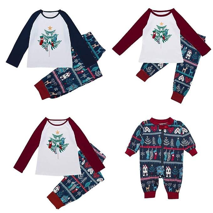 Conjunto de Pijamas Familiares de Navidad, Btruely Pijamas de Navidad Familia Hombres papás Tops Blusa Pantalones Familia Ropa de Dormir Conjunto de Navidad ...