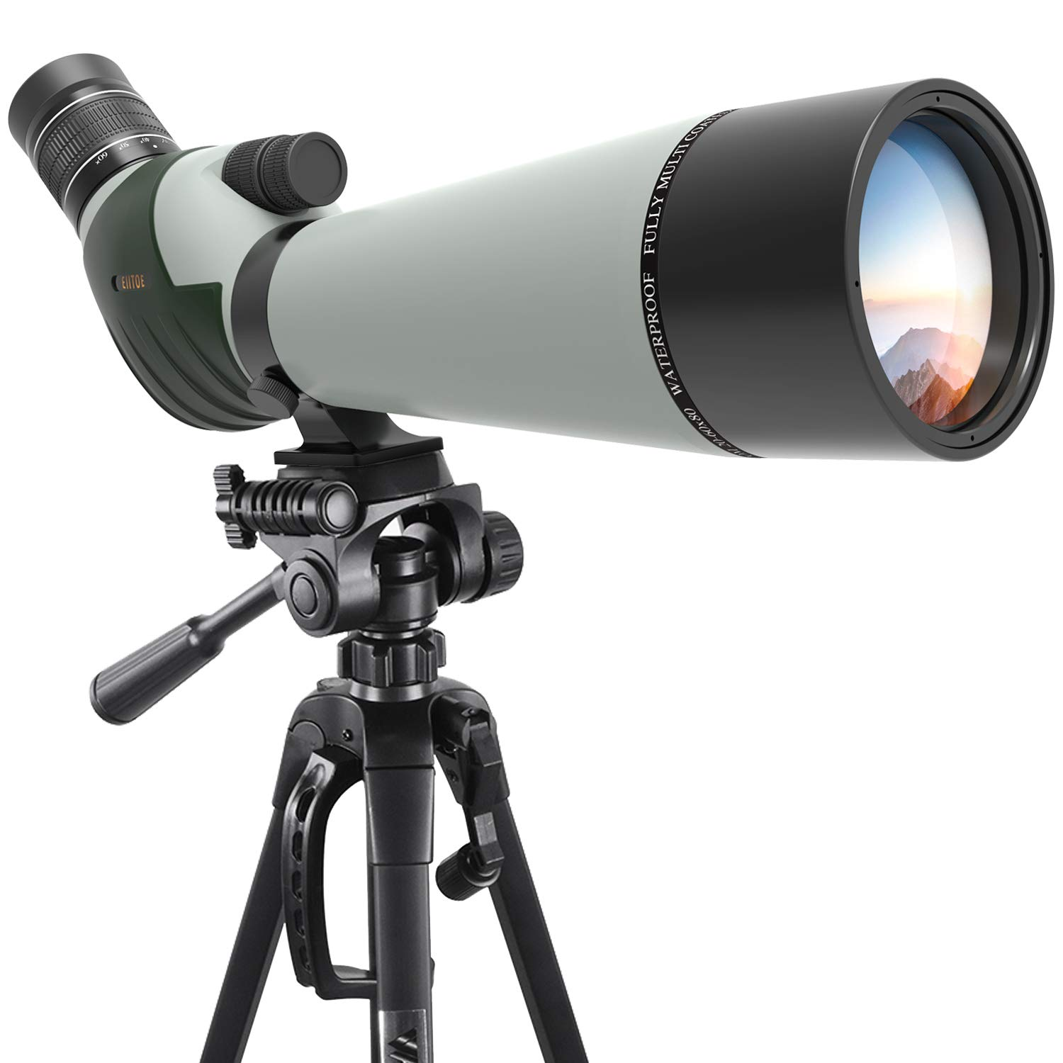 Emarth 20-60x80mm Porro Prism Spotting Scope with Camera Tripod, 45-Degree Angled Big Eyepiece,Waterproof Fogproof Spotter Scope for Target Shooting Bird Watching Archery Wildlife Scenery