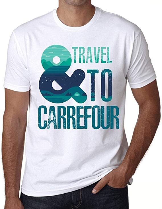 One in the City Hombre Camiseta Vintage T-Shirt Gráfico and Travel To Carrefour Blanco: Amazon.es: Ropa y accesorios