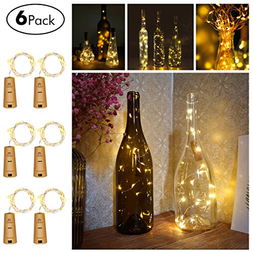 Wine Bottles String Lights, FairyDecor 6 Packs Micro Artificial Cork Copper Wire Starry Fairy Lights, Battery Operated…