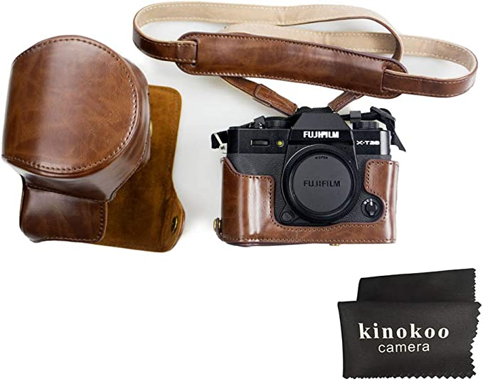 Color : Black MEETBM ZIMO,Full Body Camera PU Leather Case Bag with Strap for FUJIFILM X-T3 Black