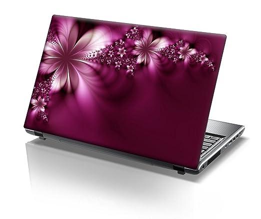 TaylorHe - Carcasa adhesiva de 38 x 25,5 cm para portátil con diseño de calavera rosa con flores y acabado con efecto piel