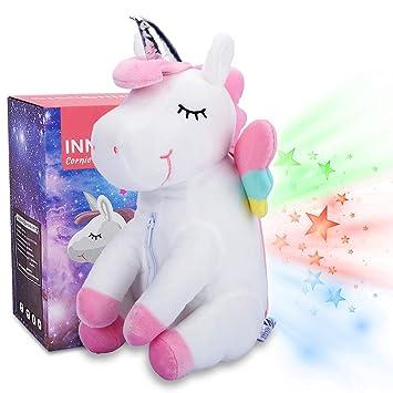 Peluche Proyector Estrellas Unicornio luz nocturna para niños, Unicornio regalo juguete para niña fiesta cumpleaños - InnoBeta Cornie