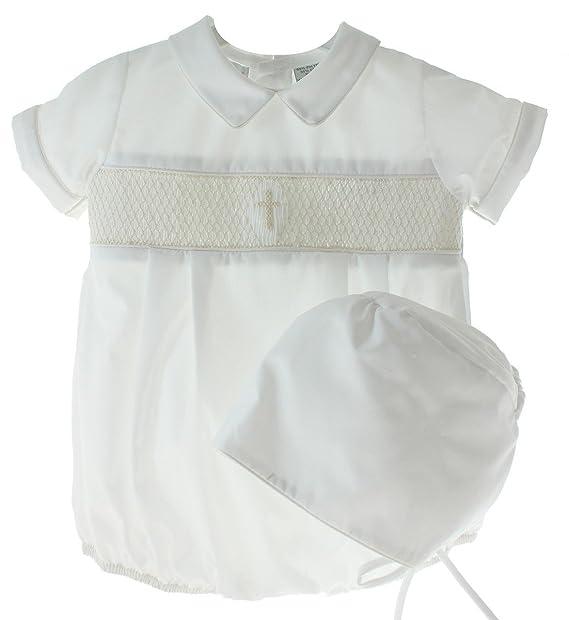Amazon.com: Carruaje Boutique niños blanco bautizo traje ...