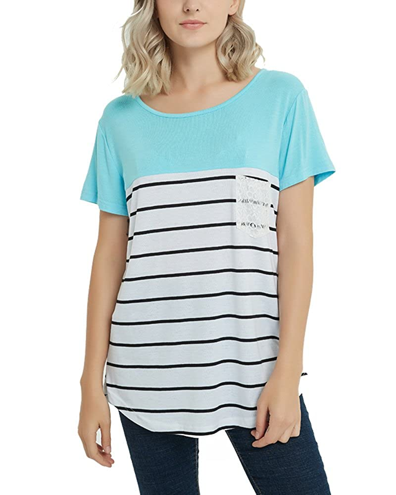 55aba834aef Top1  AlohaYM Women s Striped Shirt Lace Pocket Tee Short Sleeve Tunics