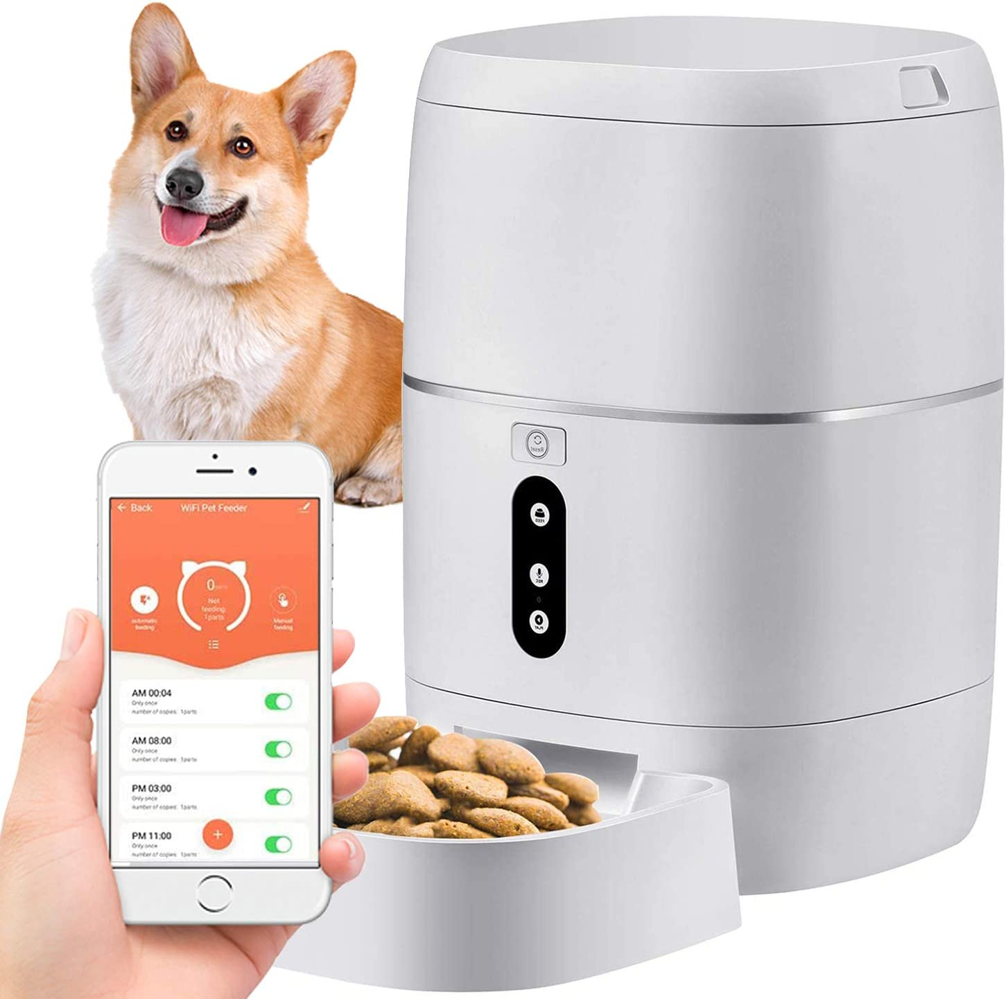 Yakry X12 WiFi Smart Feeder 6L Automatic Cat Feeder Automatic Dog Feeder Food Dispenser App Control with Voice Recorder, Dual-Power and 6 Meals Programmable Timer for Android/iOS