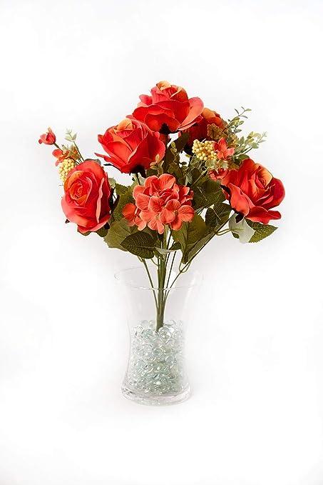 Best Artificial 50cm Vintage Silk Rose Flower Spray Bouquet Wedding Home Decoration Arrangement Orange Amazon Co Uk Kitchen Home