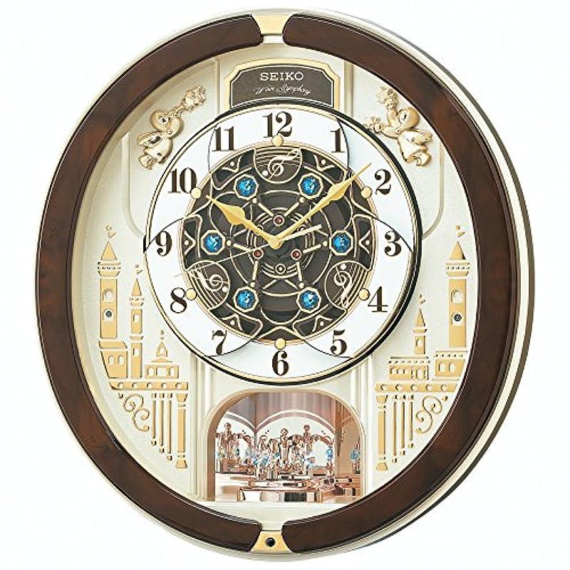 세이코 clock 벽시계 전파 아날로그 꼭두각시 트리플 셀렉션 멜로디 회전 장식 박금색 펄 RE579B SEIKO