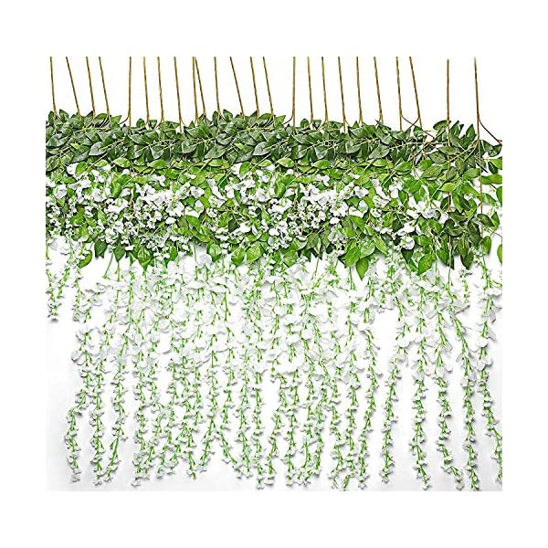 Laylala 24 Piece Realistic Artificial Silk Wisteria Vine Ratta Silk Hanging Flower Plant for Home Party Wedding Decor and Other Various Events, Each White