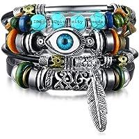 University Trendz Blue Evil Eye Multi-Layer Leaf Charm Wrap Leather Bracelet for Men and Women