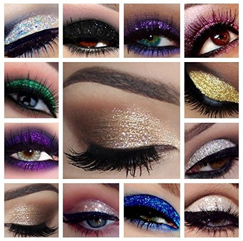 Glitter Eyes Set 2 - 10 X Glitter Pots Fix Gel & Brush Loose Glitter Eye Shadow NA