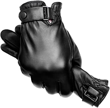 Mens Winter Leather Gloves Touchscreen Warm Driving Gloves with Lining Outdoor Cycling Glove