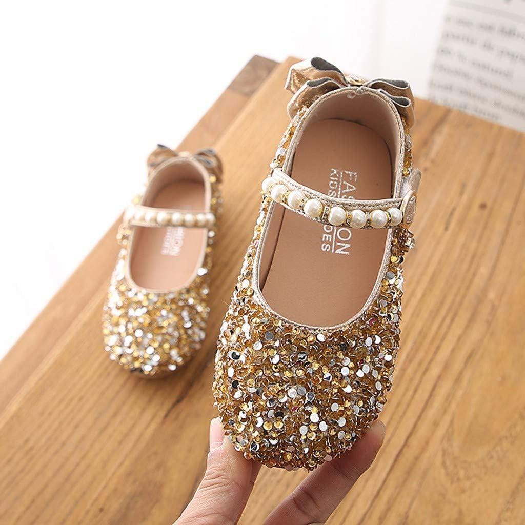 Zapatos de baile de lentejuelas brillantes para niñas, Alaso Chica Mary Janes, para bautizos, ceremonias, bodas y fiestas. dorado 28: Amazon.es: Ropa y accesorios