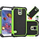 Galaxy S5 Case,MANDYCOWRY Solid Shockproof Stylish Design Dual Layer Protection Defender Cover for Samsung Galaxy S5(Black/Green)