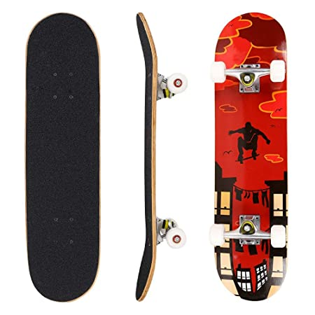 Pro Skateboard – 31 X 8 Complete Skateboard, 9 Layer Maple Wood Skateboard Deck with Double Kick Concave Design for Kids Boys Youths Beginners
