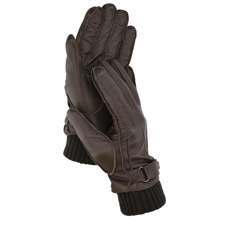 Navaris guantes de cuero napa para hombre - guantes de piel de cordero cachemira - manoplas de invierno para varón con función táctil
