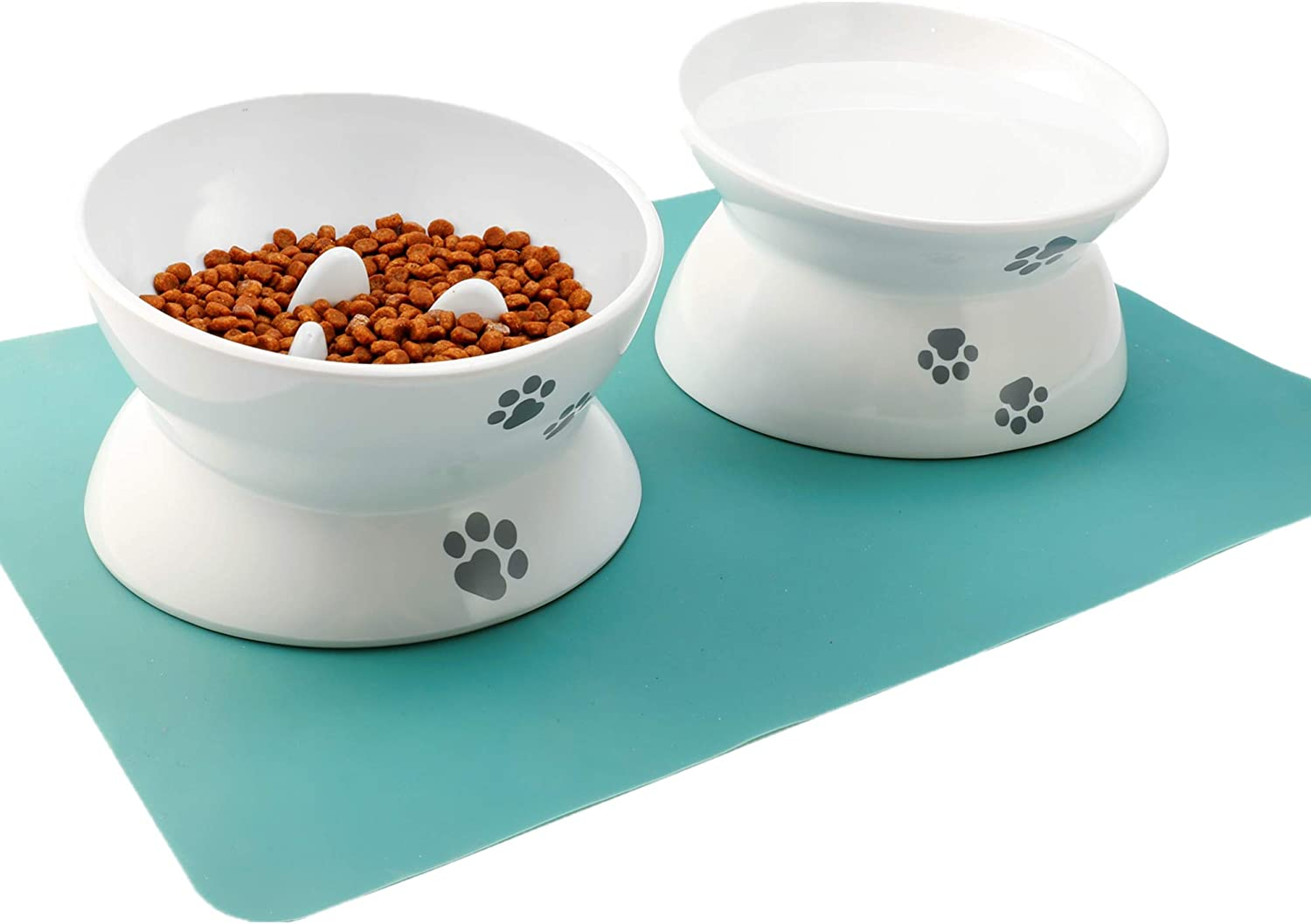 Raised Cat Bowl Elevated Slow Feeder No Spill Melamine Stress Free Pet Feeder and Waterer,Backflow Prevention, Gift for Cat
