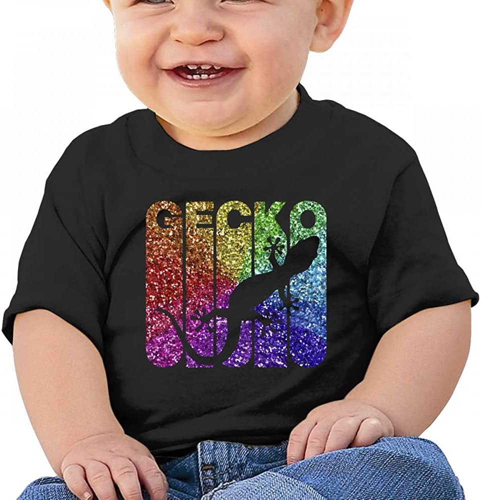 Vintage Style Gecko Silhouette Shiny Baby Boys Toddler Short Sleeve T-Shirts Tees
