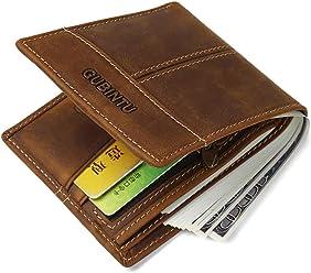 Men Organizer Wallet Vintage Crazy Horse Leather Cowhide Men Bifold Wallet With ID Window Wallet Purse
