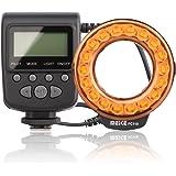 Meike MK-FC110 Macro Ring Flash Universal LED Speedlite for Canon/Nikon/Sony/Panasonic Lumix/Olympus/Fujifilm/Penta/Leica Cameras with Orange Color Temperature Ring