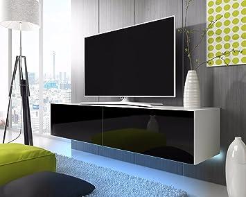 TV Schrank Lowboard Hängeboard SIMPLE Mit LED Blau (Weiß Matt / Schwarz  Hochglanz 200 Cm