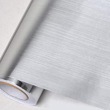 DUOCK Cepillo de plata Papel pintado autoadhesivo de vinilo ...
