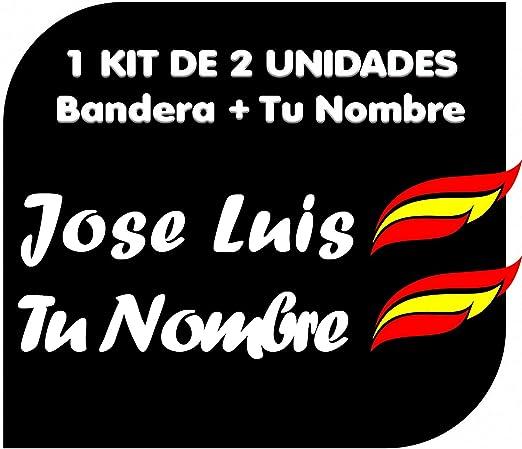 x2 Pegatinas Vinilo Bandera España + tu Nombre - Bici, Casco, Pala De Padel, Tablas Skate, Coche, Moto, etc. Kit de Dos Vinilos: Amazon.es: Hogar