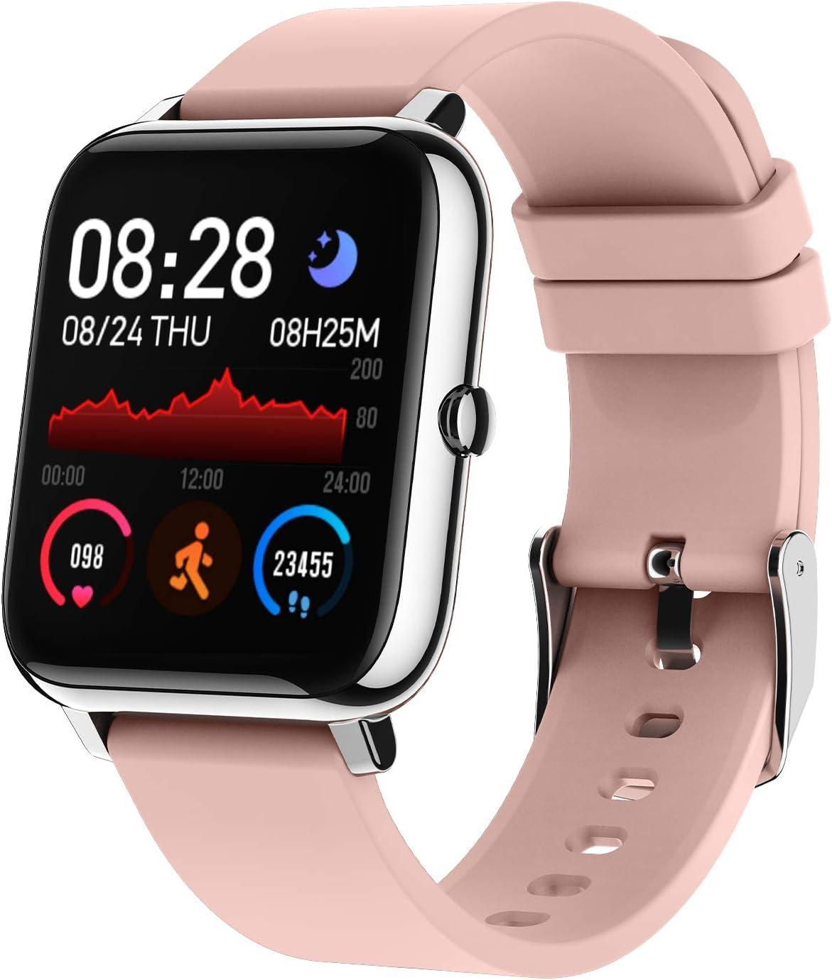 BOZLUN Smartwatch, Reloj Inteligente Impermeable IP67 para Hombre Mujer Niños,Monitor de Sueño Pulsómetros Cronómetros Contador de Caloría,1.4 Inch Pantalla Táctil Smartwatch para Android iOS(Rosado)