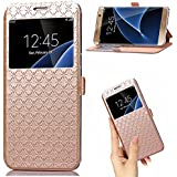 Galaxy J7 Prime 2016 Release (Only Fit G610 Series) Case,On7 Case Leather Wallet Flip Case with View Window Stand Kickstand Magnetic Closure TPU Bumper Full Cover Slim Case for J7 Prime (Gold)
