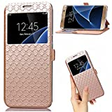 (US) Samsung Galaxy J7 Prime case,On7 2016 Case Leather PU Wallet flip Case with View Window Stand Kickstand Card Holder Magnetic Closure TPU bumper full cover slim Case for J7 Prime/On7 2016(GOLD)