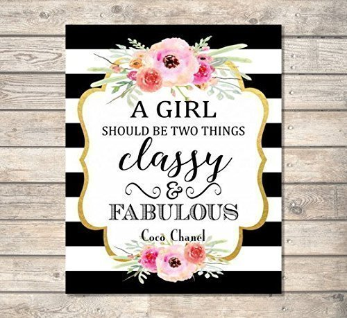 1f8570d01 A Girl Should Be Two Things, Classy And Fabulous - Coco Chanel Quote Art  Print, Inspirational Art Print, Typography Wall Art, Unframed Print, 8