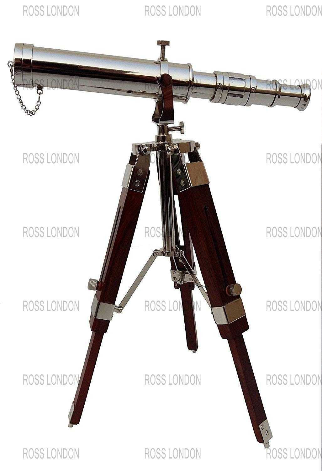 ROSS LONDON Spyglass Brass Nautical Nickel Finish Telescope with Wooden Tripod Collectible