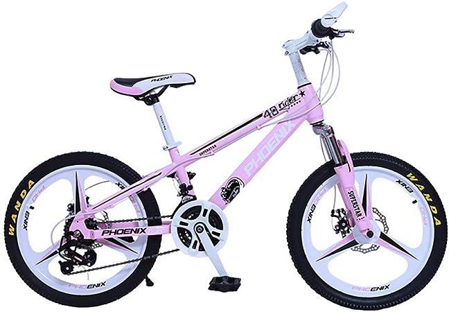 YAOXI 20 Pulgadas Bicicleta De Montaña con Absorción De Choque La Horquilla De Suspensión, Marco Hecho De Acero Al Carbono Engranaje 21 Doble Freno De Disco Bicicleta para Niños,White/Pink: Amazon.es: Hogar