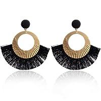 Paolian Femmes Cercle Bordées Boucles d'oreilles Boho Bijoux de mode (Noir)