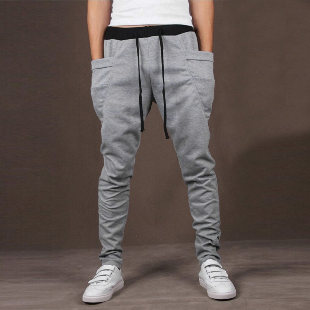 TnaIolral Mens Pants Casual Trunks Sweatpants Trousers Gray by TnaIolral (Image #2)
