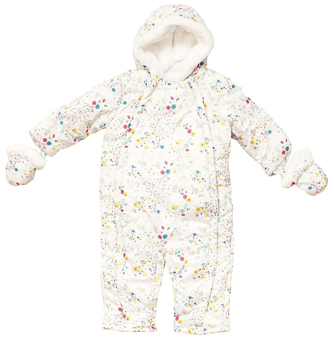 Get Wivvit Baby Girls Woodland Flowers Hooded Pramsuit Coat & Mittens Sizes from Newborn to 18 Months