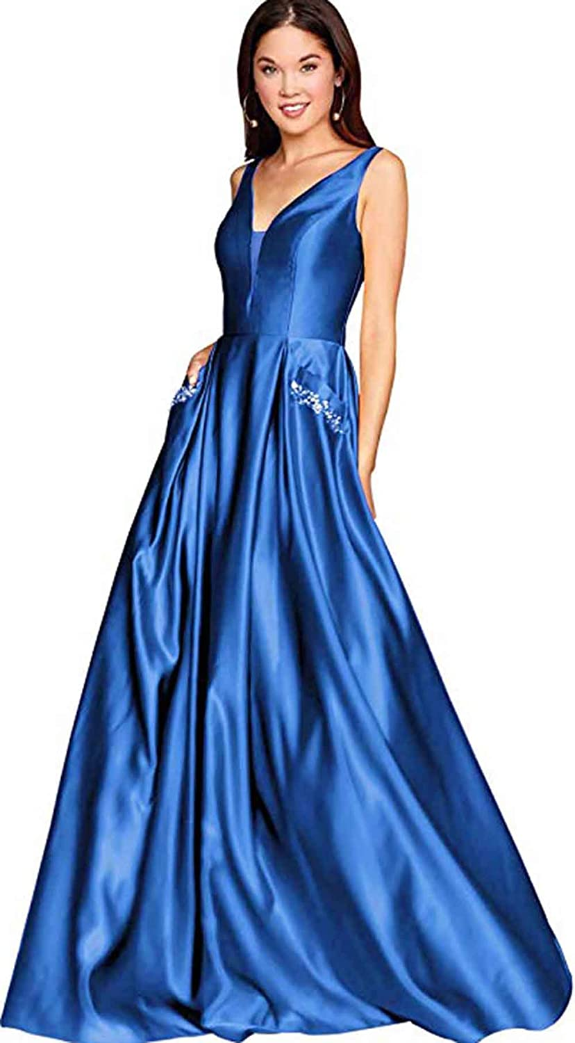 bluee Rmaytiked Womens V Neck Beaded Prom Dresses Long Satin A Line Formal Evening Ball Gowns with Pockets