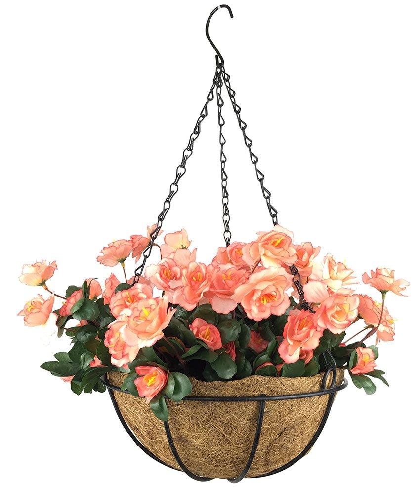 silk flower arrangements lopkey outdoor artificial red azalea bush flower patio lawn garden hanging basket with chain flowerpot,orange