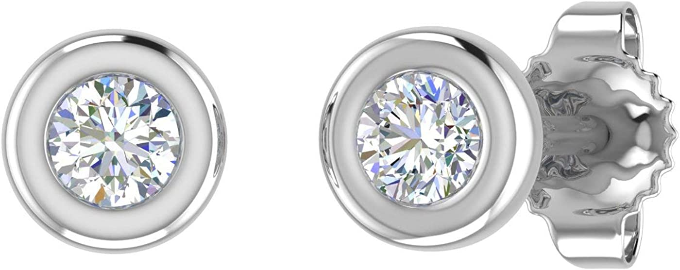 1//10 Carat 10K Gold Bezel Set Round Diamond Stud Earrings