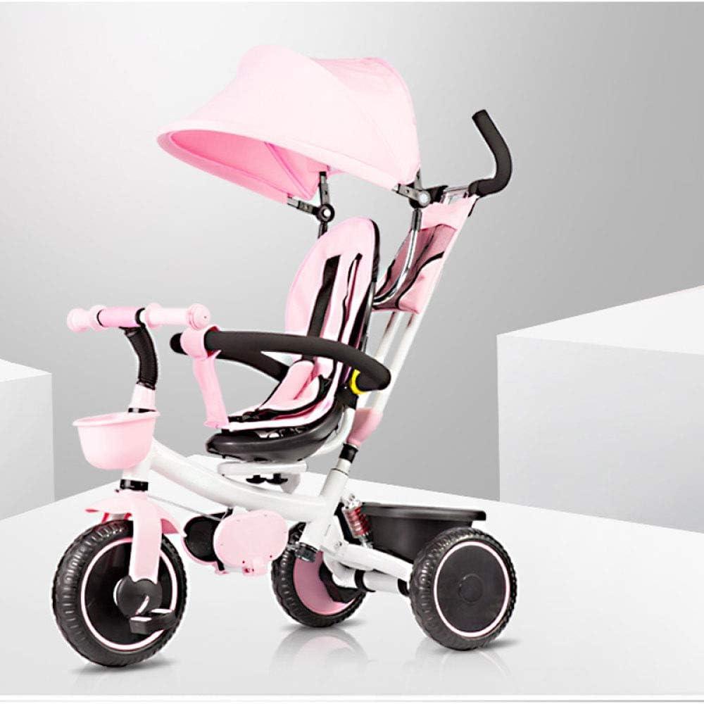 4 In 1子供用ハンドプッシュ三輪車5か月から6年3点安全ベルト子供用ペダル三輪車調節可能なハンドルバー折りたたみ式サンキャノピートライク最大重量50 Kg,Pink