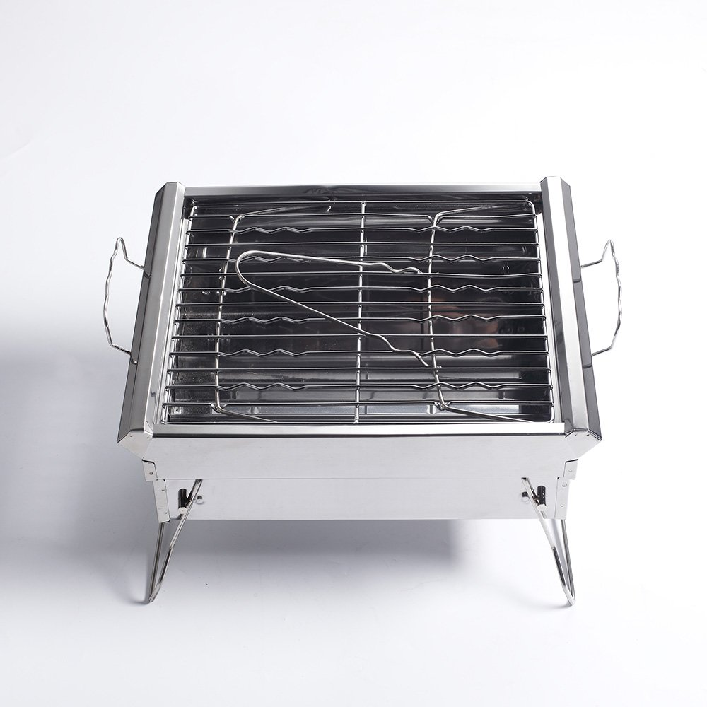 Sougem Portable Foldable Charcoal Grill Stainless Steel Lightweight BBQ For Outdoor Barbecue Cooking Picnics Tailgating,Small Size