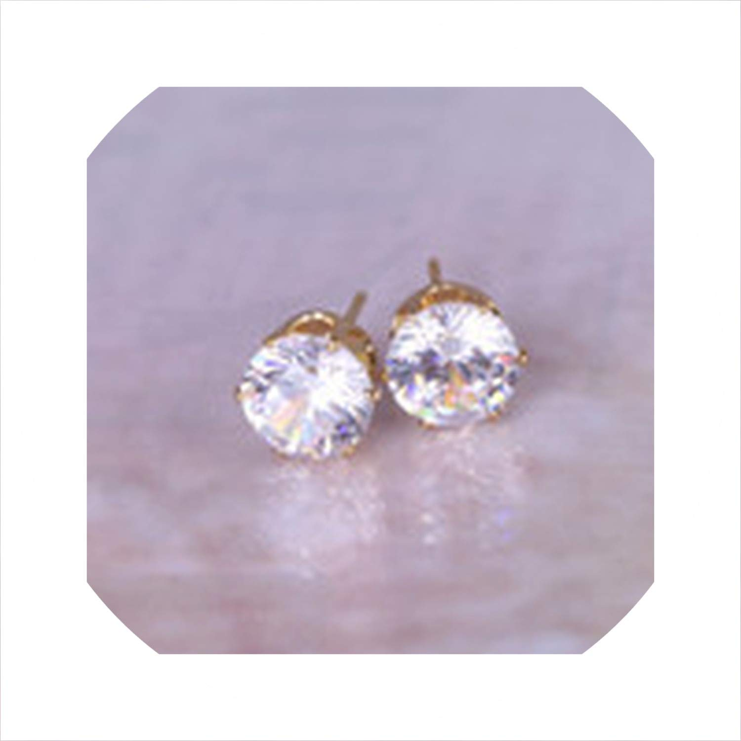 hdfhdfhd 2019 Hot Jewelry Gold Zircon Sweet Stud Earrings 19 Color Earring for Girls Christmas for Woman,Platinum Red