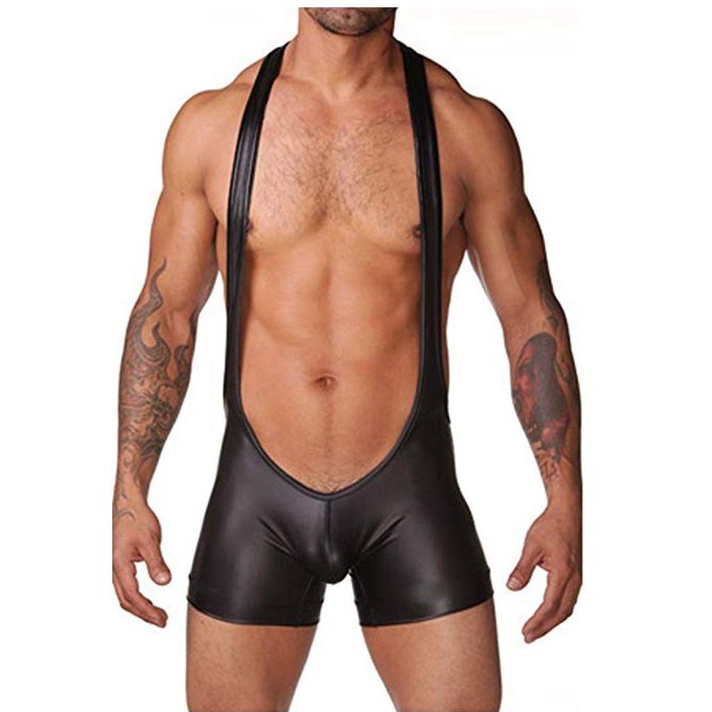 YiZYiF Men's Black Leather Like Bodysuit Gay Muscle Singlet Halter Ultra Briefs Large