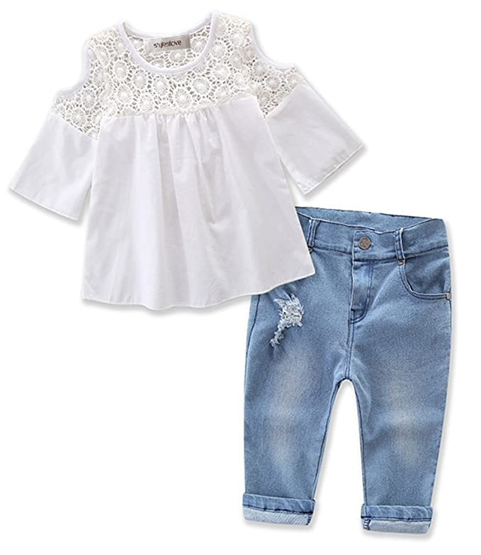 c161855aef8d stylesilove Sweet Girl Lace Design Off Shoulder 3/4 Sleeve Blouses and Jeans  2 Pcs