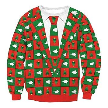 WFTD Sudadera De Navidad Unisex, 3D Impresión Casual Tripulación Cuello Deportes Manga Larga Camiseta, Feo Navidad Sudaderas Divertidas, Rojo Y Verde: ...
