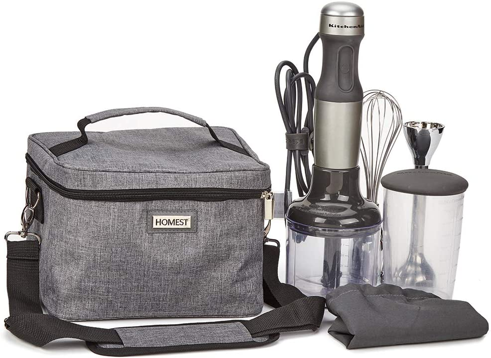 HOMEST Hand Blender Storage Bag with Custom Main Compartment, Travel Tote Bag Compatible with Kitchenaid Hand Blender, Grey (Patent Pending)